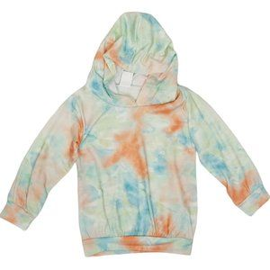 Green and Coral Lightweight Tie Dye Hoodie